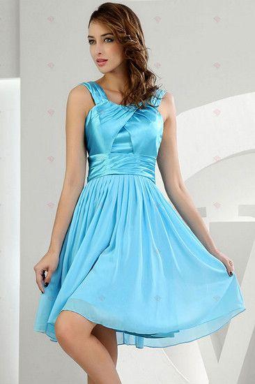 Prinzessin Scoop Neck Mini Style Blau Chiffon und Satin kurze ...