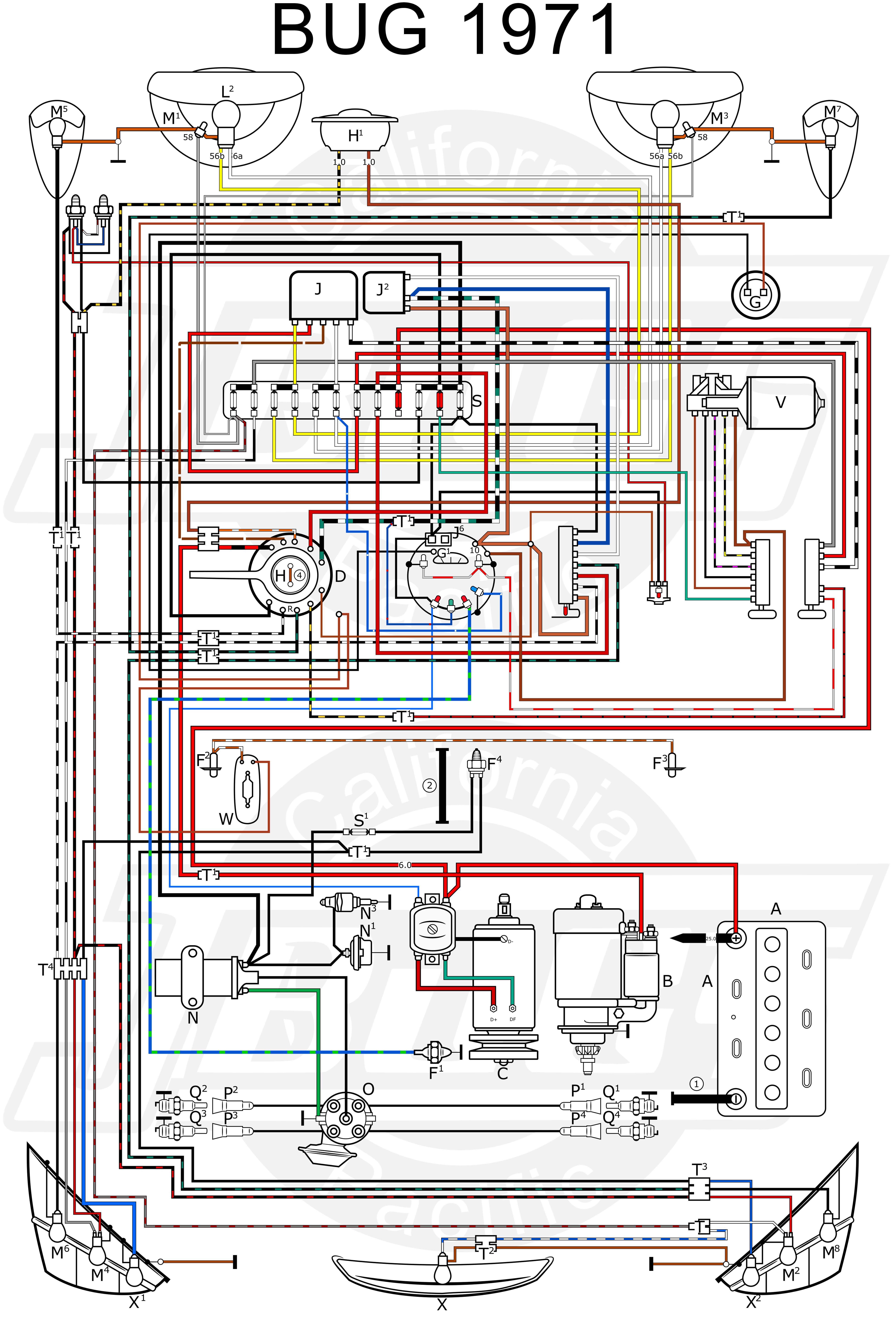 Vw Tech Article 1971 Wiring Diagram Vw Bug Vw Parts Vw Beetle Classic