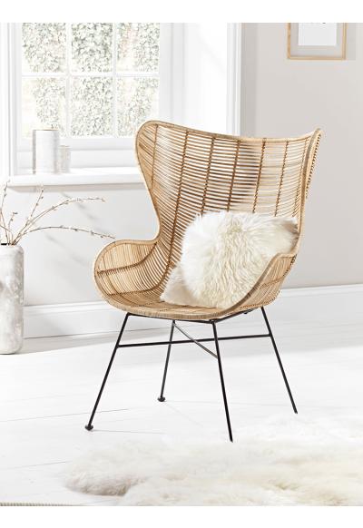 flat rattan wing chair natural furniture finds wohnen wohndeko wohnzimmer