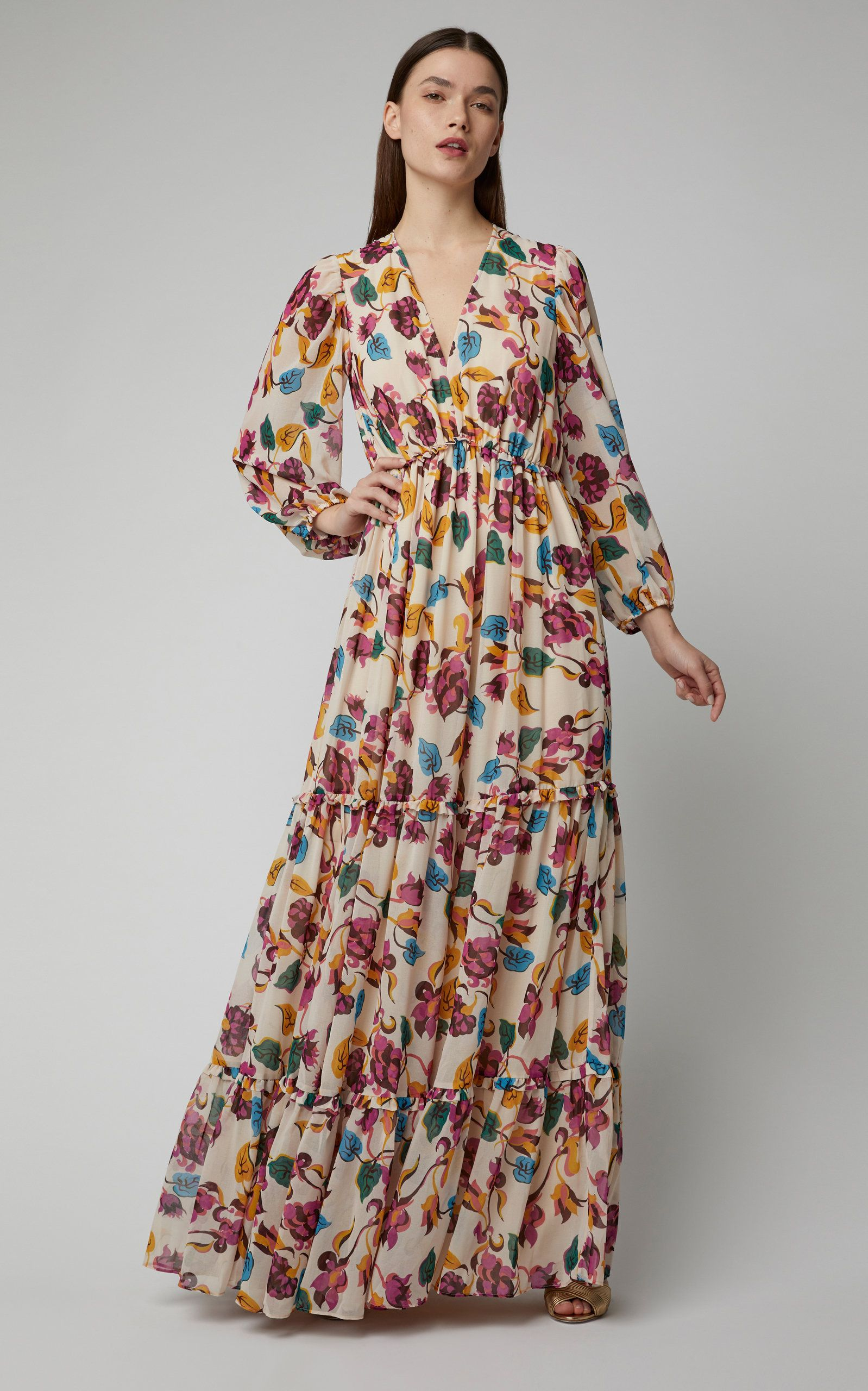 6e0fde7030b Nina Tiered Chiffon Maxi Dress by SALONI Now Available on Moda Operandi