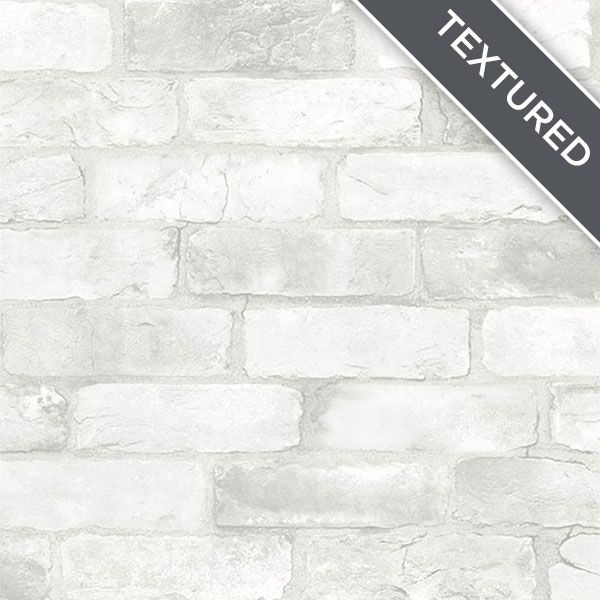 Exposed Brick Accent Wall Over Drywall: NU2218 Loft White Brick Removable Wallpaper By NuWallpaper