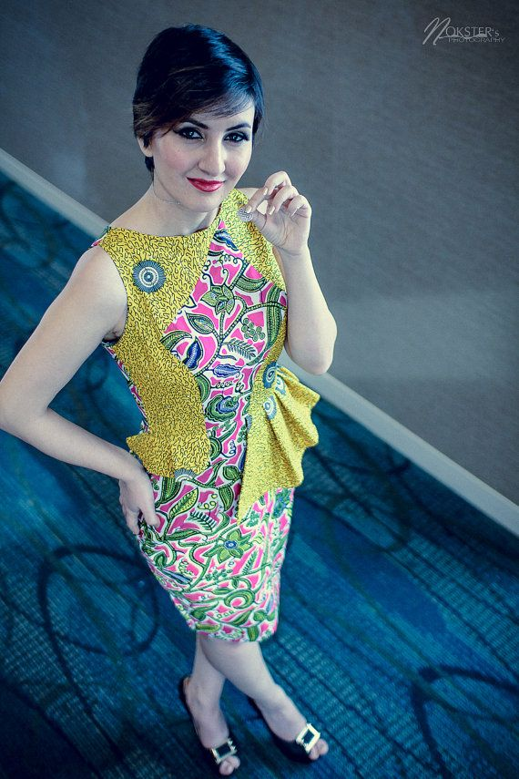 Vibrant Yellow African Print Mixed Peplum by AkeseStyleLines, $200.00
