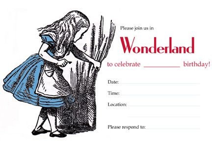 alice in wonderland birthday party invitations free | printables, Party invitations