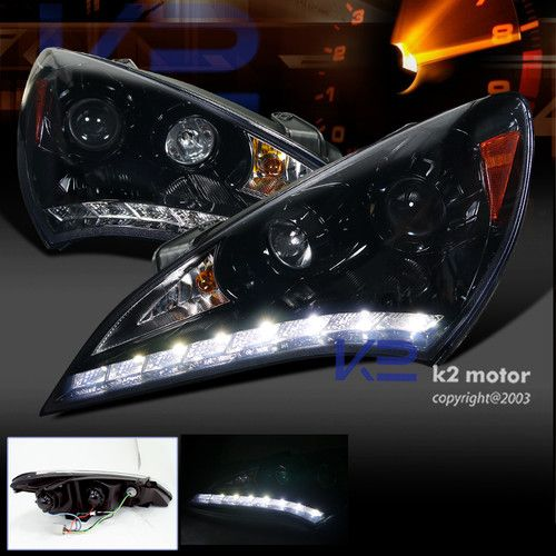 Piano Black Smoke Projector Lights Led Drl Ebay 299 Black Smoke Projector Headlights Hyundai Genesis Coupe