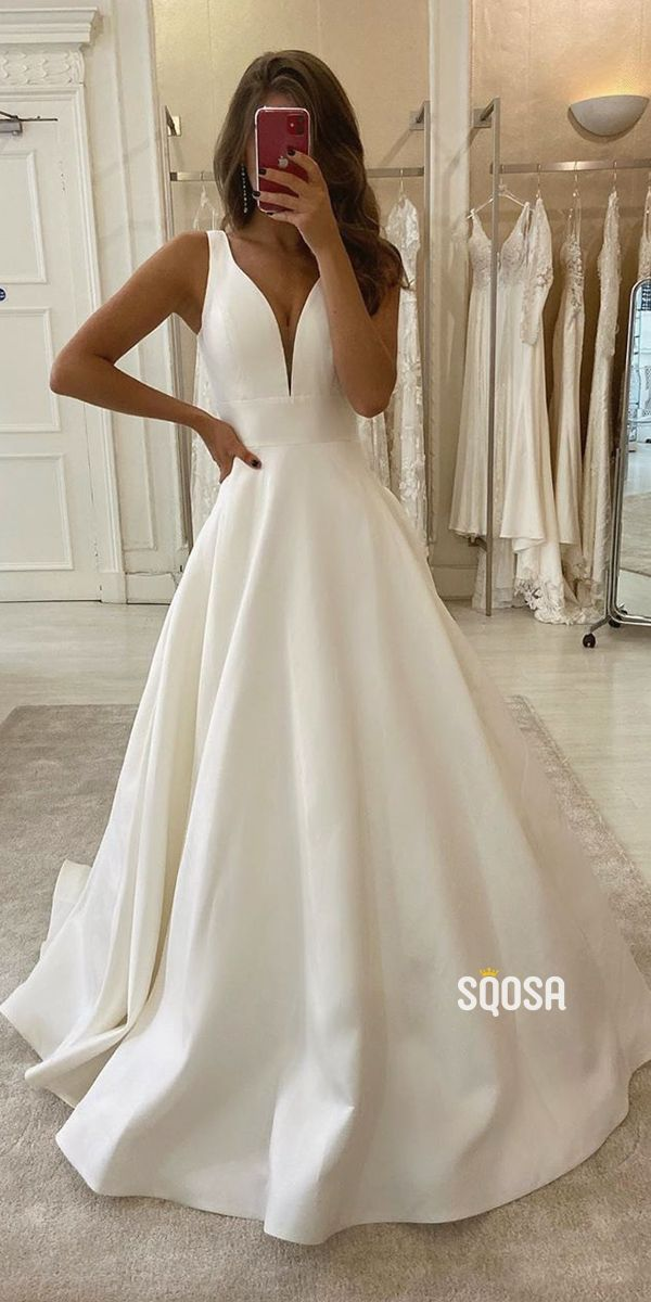 A-Line V-neck Ivory Satin Simple Wedding Dress Backless Bridal Gowns QW0946