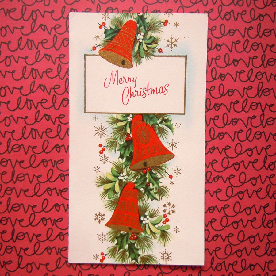 Vintage Merry Christmas Red Bells Holly And Mistletoe Christmas Card