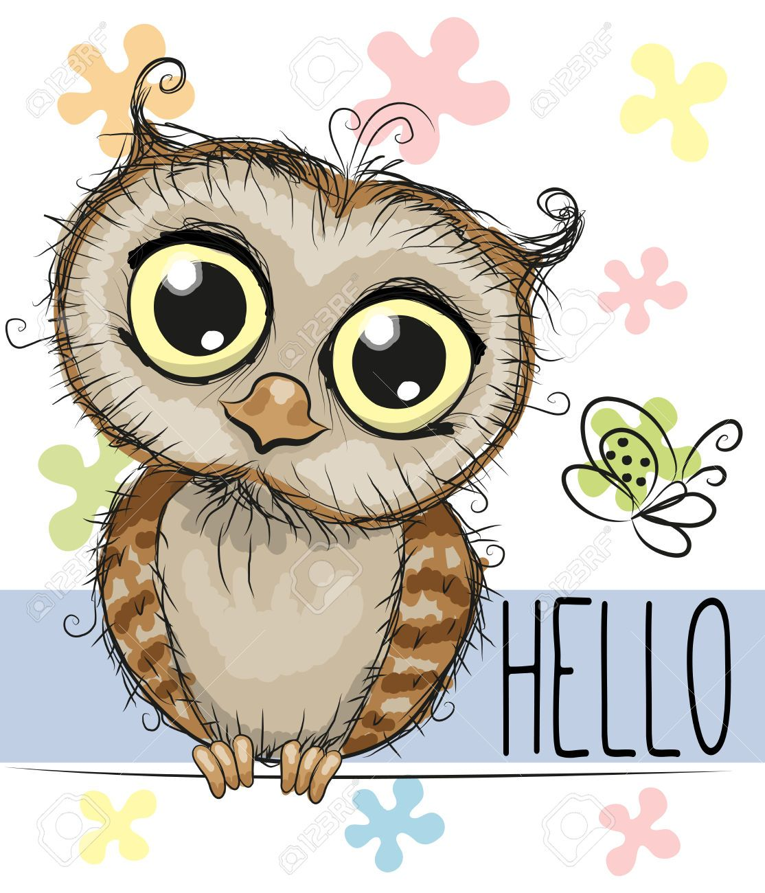 46286526 cute cartoon owl and a butterfly on a floral background