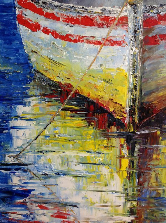 Boat Reflection Oil Painting Seascape Ocean Painting Boat Painting ...