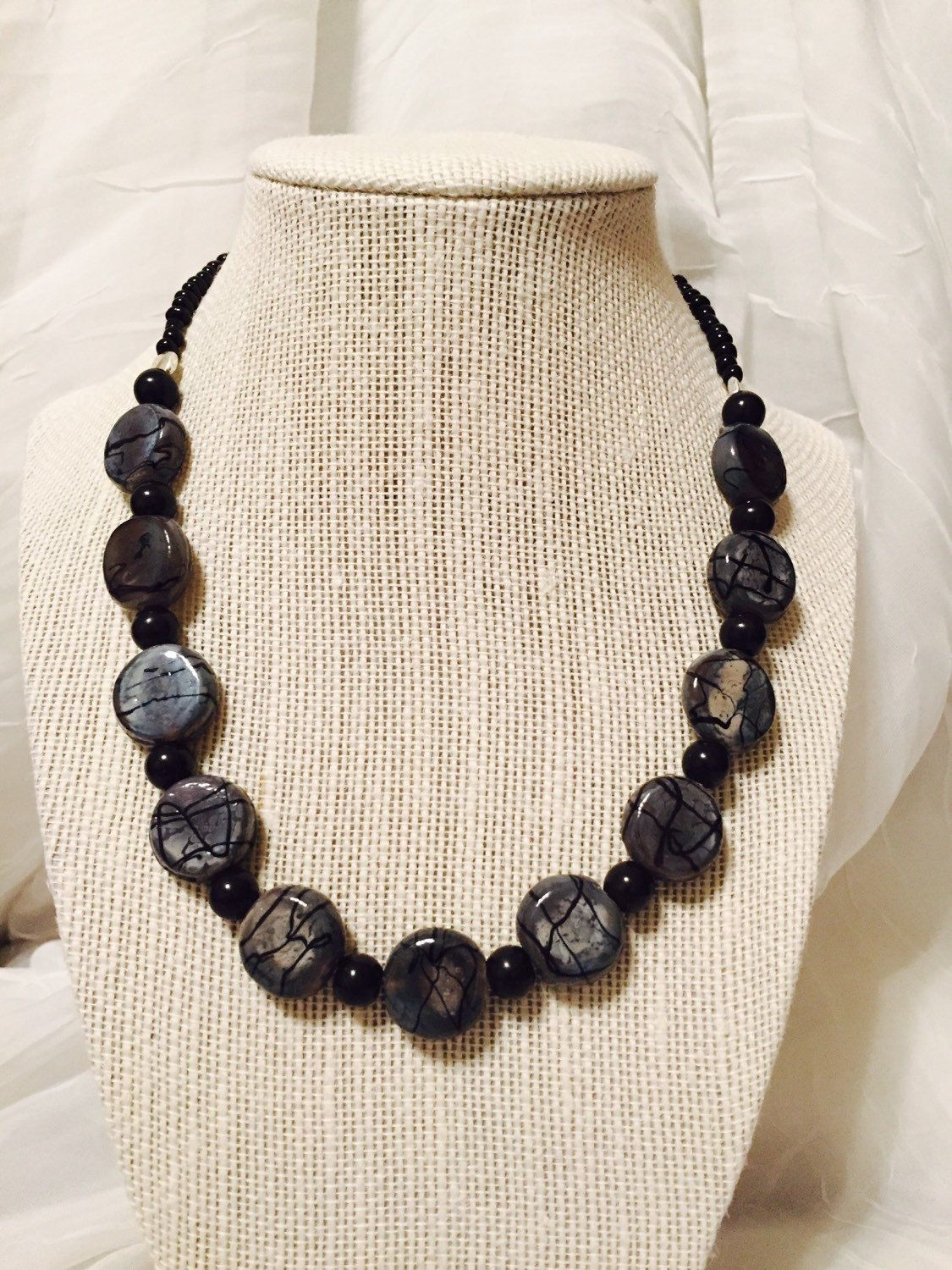 """18"""" Black & Grey Beaded Necklace by JCCUSTOMSDESIGNS on Etsy"""