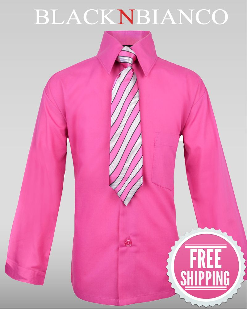 Boys Hot Pink Fuchsia Dress Shirt w/ Tie  Boys Pink and Ties