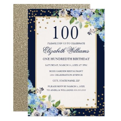 Gold Blue Floral Sparkle 100th Birthday Invitation