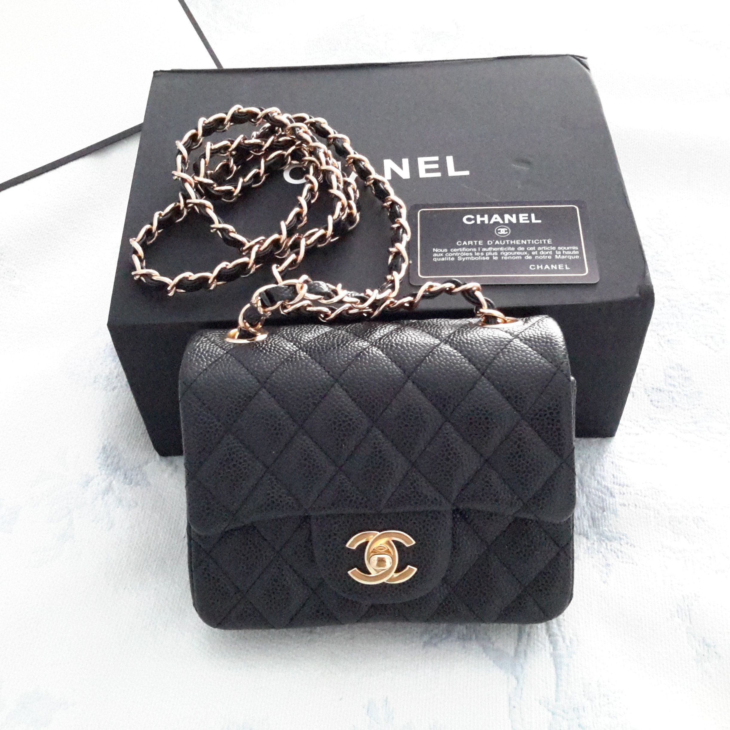 Authentic Chanel Classic Mini Flapbag In Black Caviar With Ghw Chanel Mini Square Chanel Flap Bag