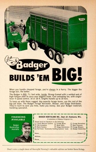 1966 Ad Badger Northland Forage Chopper Kaukauan Wisconsin Farming Machinery