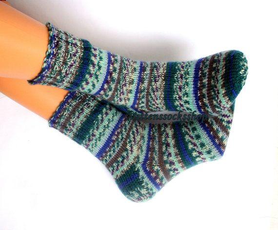 f4b2e61543ed4 Wool socks Knitted warm socks Colorful socks from sock yarn Socks for women  Green blue gray striped socks Men's winter socks Girl's socks