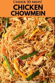 Try this ultimate recipe of Chicken Chowmein stir fry noodles. Succulent chicken pieces cooked and stir fried with veggies further tossed with chowmein and tossed in amazing chowmein sauce makes the chicken chowmein the best quick and easy Chinese takeout dish ever- under 30 mins!  #savorybitesrecipes #chickenchowmein #Chinesefood #takeoutstyle #betterthantakeout #easyrecipes #dinnerrecipes #noodles