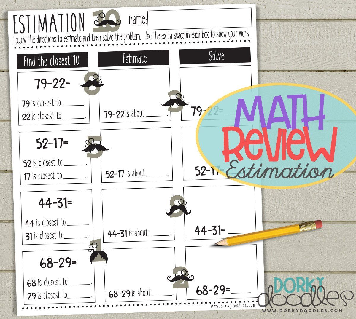 Free Estimation Worksheet Printable
