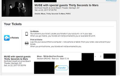 Tickets Muse W 30sec To Mars Jones Beach Two Tickets For One Price Tickets Jones Beach Ticket Muse