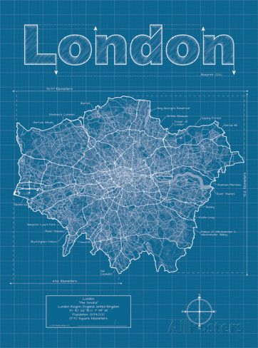 London artistic blueprint map posters by christopher estes london artistic blueprint map posters by christopher estes allposters malvernweather Images