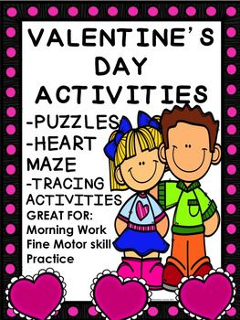 Do you need valentine activities for your students? Enjoy these puzzles, tracing worksheets and more! Great for morning work, centers, and seat work. Tracing worksheets are great for practicing fine motor skills.Contents include:--Heart Maze, KEY provided--Heart Puzzle, in color and black and white--Valentine Fun Search and Find, KEY provided--Its Valentines Day crossword puzzle, KEY provided--Happy Valentines Day tracing worksheet --Word and Heart Tracing, great for practicing fine motor…