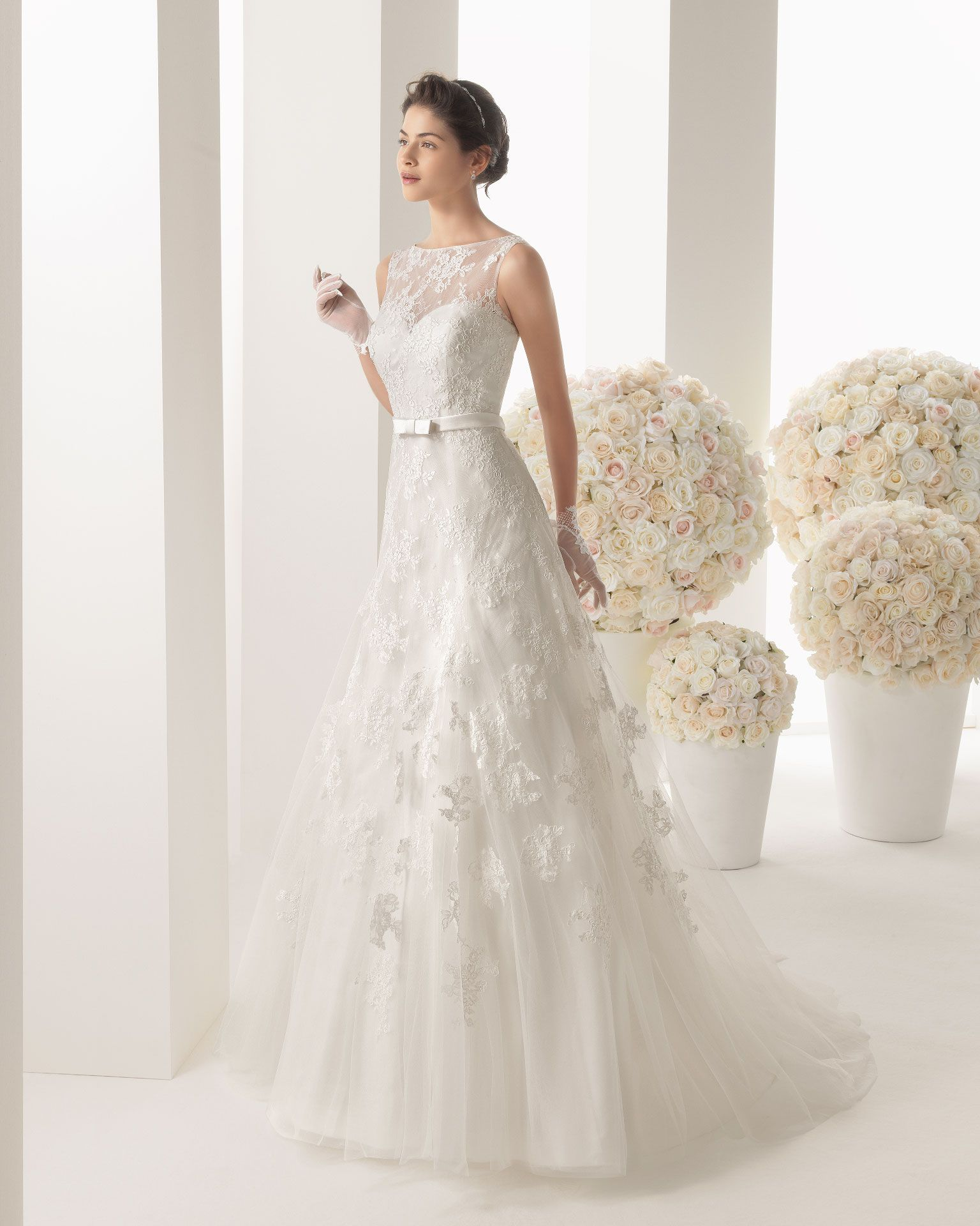 tank top wedding dresses Robes de mari e Rosa Clara Malena Two Like the style Noble A Line Tank Top Lace Ivory Brush Train Wedding Dress