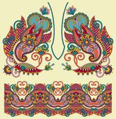 Neckline ornate floral paisley embroidery fashion design — Stock Illustration #54726311