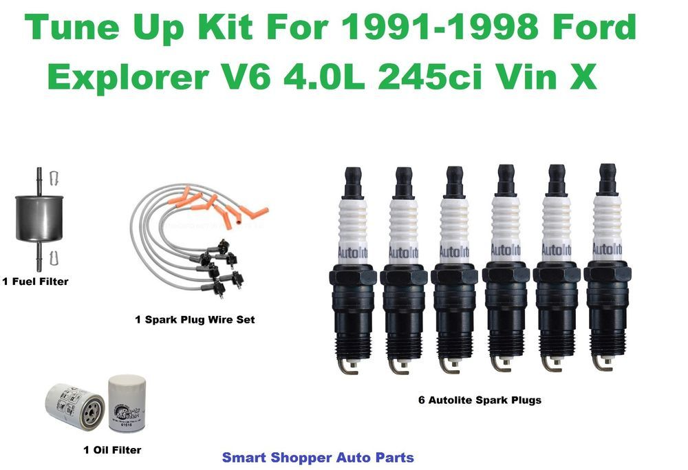 Tune Up Kit for 1991-1998 Ford Explorer V6 4.0L Spark Plug Wire Set Oil On Spark Plug Wires on