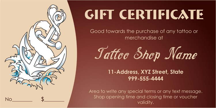 Tattoo Gift Certificate Template Card Giftcertificate Giftcard