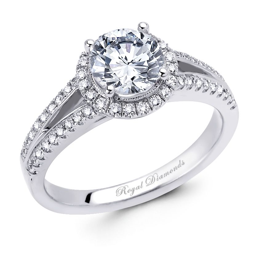 818b1e72e 18ct White Gold Engagement Ring, Round Diamond as your center stone with  split band shoulder stones