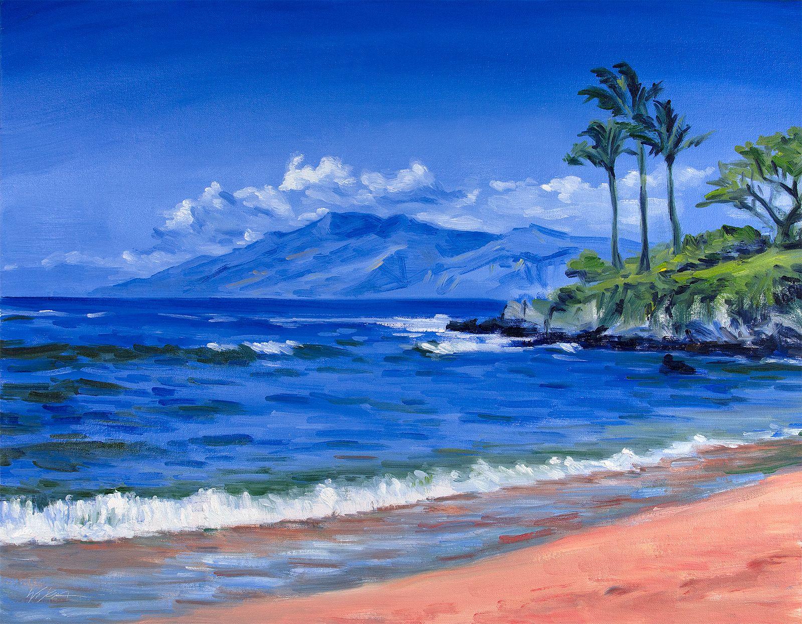 Original Painting Waves Palms And Sky At Maui Beach Ocean Landscape Painting Beach Art Painting Beach Landscape Art