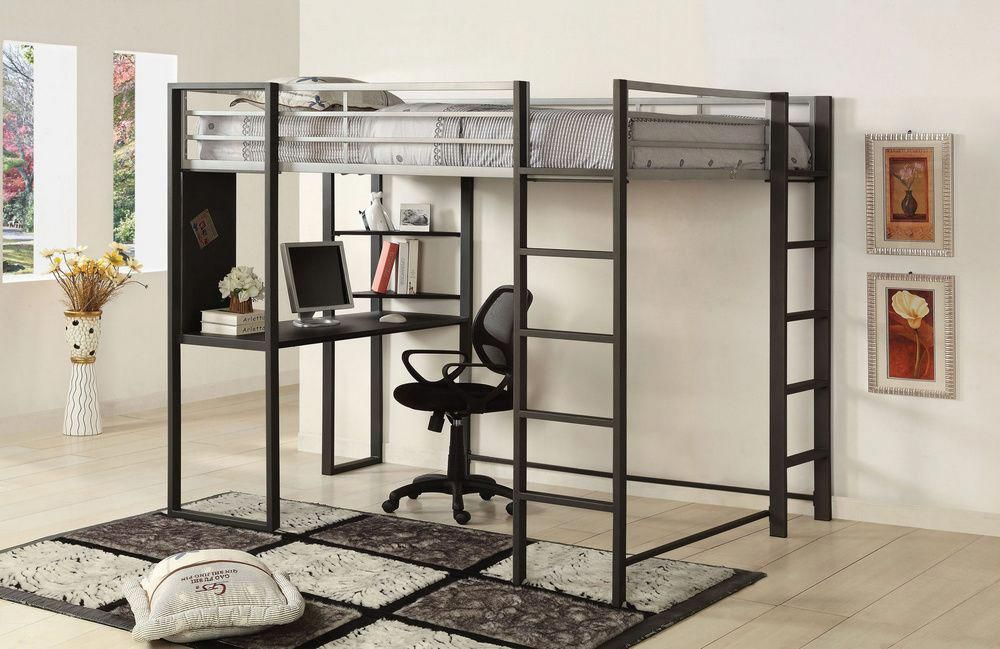 Sherman Silver Twin Loft Bed w/Workstation by Furniture of