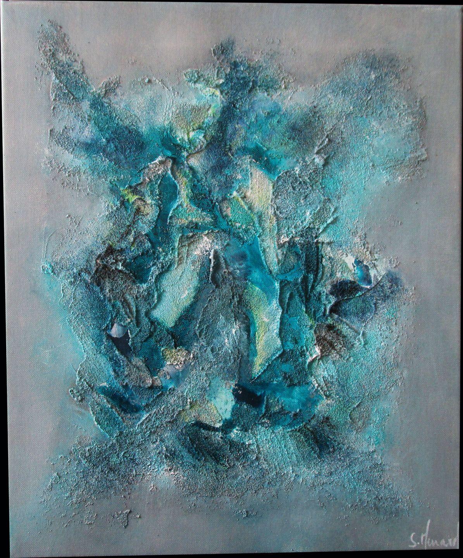 Peinture moderne acrylique et mati re bleu gris turquoise peintures par stephanie menard art - Bleu gris peinture ...