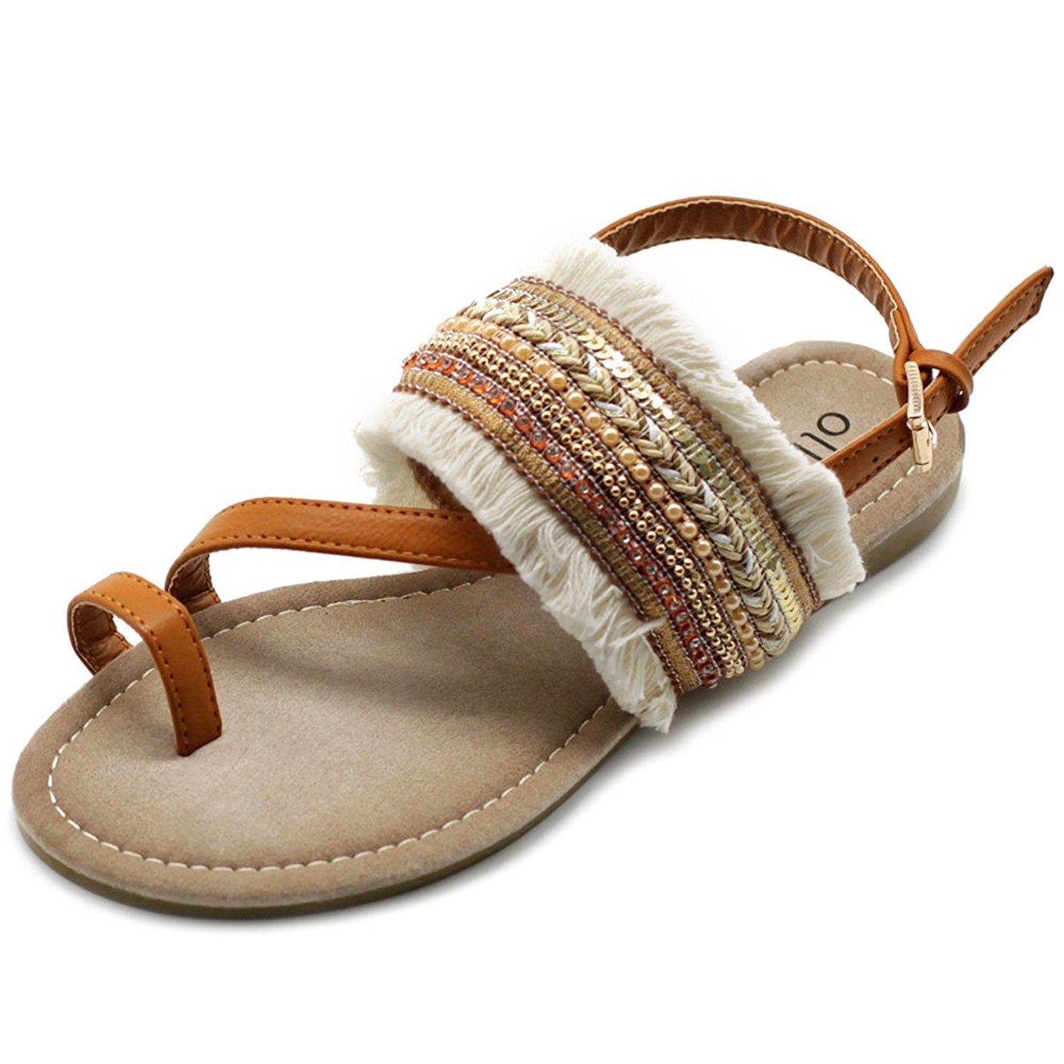 ec22ddd3e8711 Ollio Women s Shoes Ethnic Toe Ring Diagonal Strap Sling Back Boho Flat  Sandals    Click image for more details. (This is an affiliate link)   womensandle