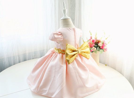 b1753e424516 Cute Light Peach Pink Birthday Dress for Baby Girls