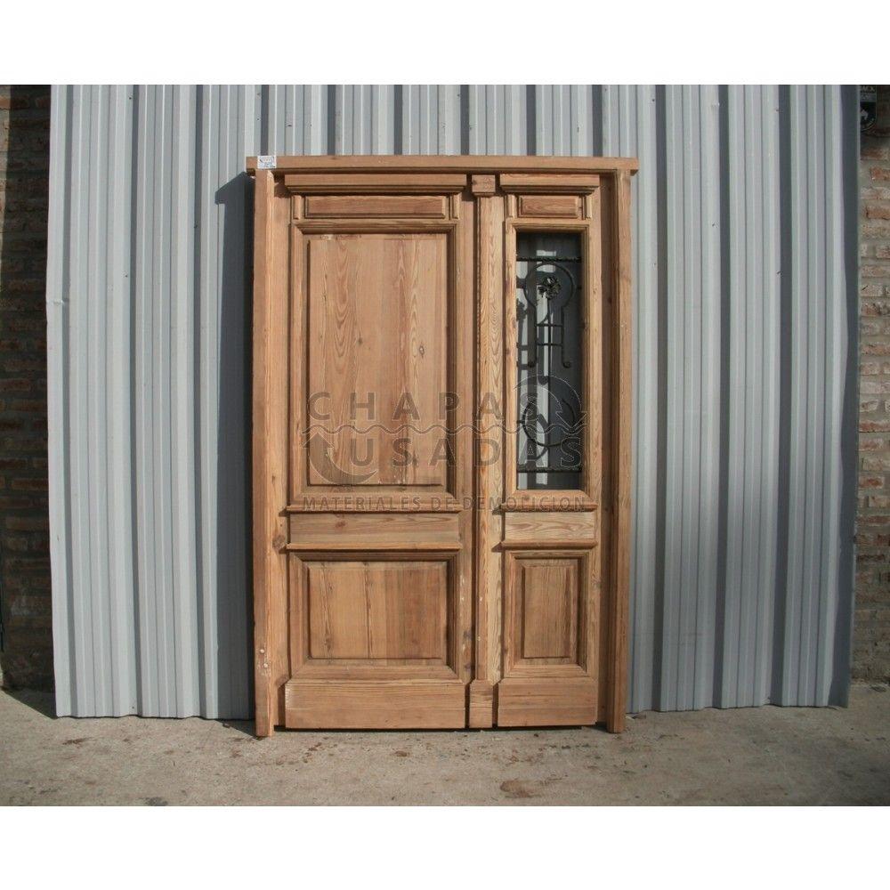 Oferta antigua puerta de frente en madera pino tea con for Puertas y ventanas usadas en rosario