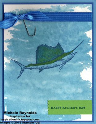 """Handmade Father's Day card using Stampin' Up! products - From Land to Sea Stamp Set, Teeny Tiny Wishes Stamp Set, Watercolor Wash background stamp, 5/8"""" Stitched Satin Ribbon, and Washi Label Punch.  By Michele Reynolds, Inspiration Ink, http://inspirationink.typepad.com/inspiration-ink/2015/06/say-hello-open-house-follow-up.html.  #stampinup #inspirationink #fromlandtosea #teenytinywishes #watercolorwash"""