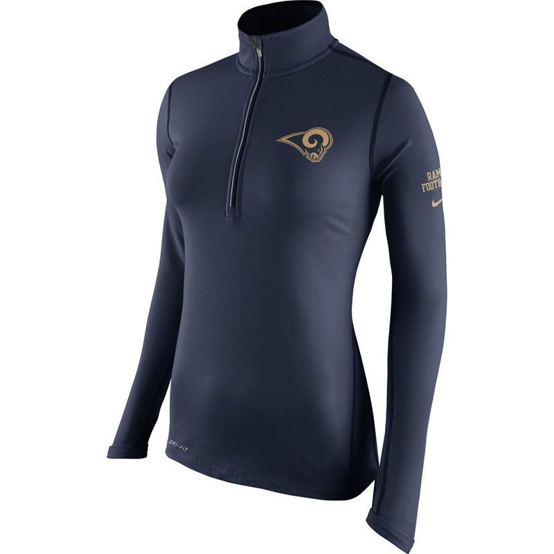 Los Angeles Rams Nike Women s Tailgate Element Half-Zip Performance Jacket  - Navy 3a9cd3a26