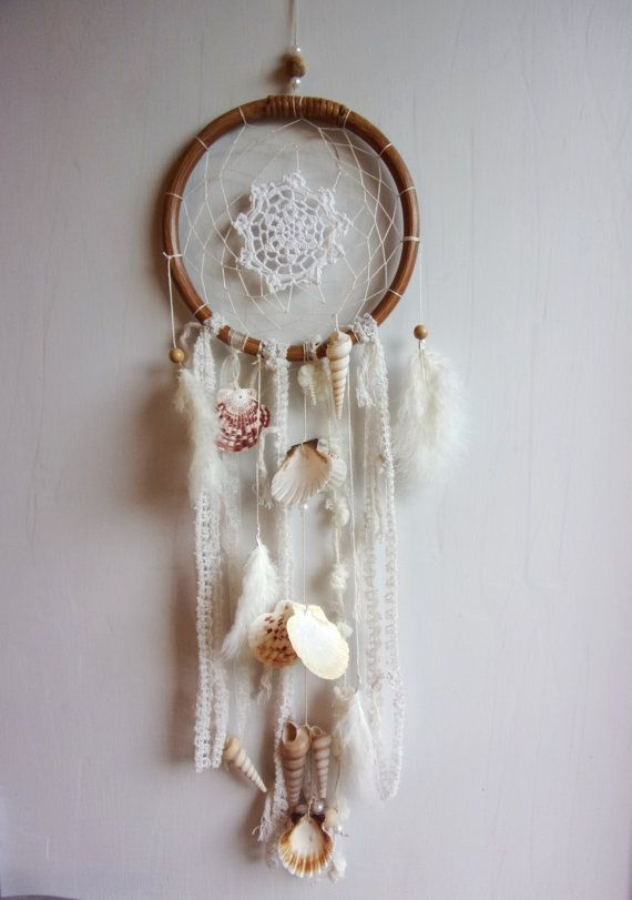 attrape r ves dreamcatcher romantique boh me shabby chic coquillages loisirs cr atifs. Black Bedroom Furniture Sets. Home Design Ideas