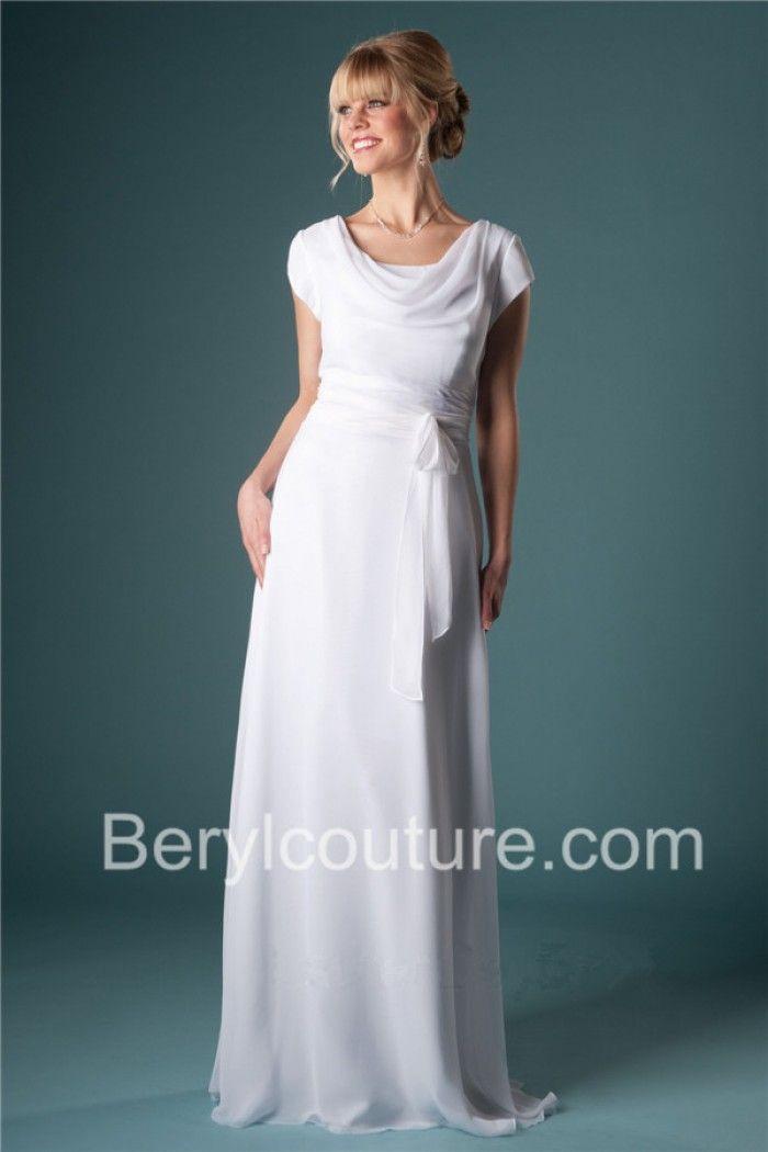 Flowing Sheath Cowl Neckline Short Sleeve Chiffon Beach Modest Wedding Dress W Modest Wedding Dresses Modest Wedding Dresses With Sleeves Necklines For Dresses