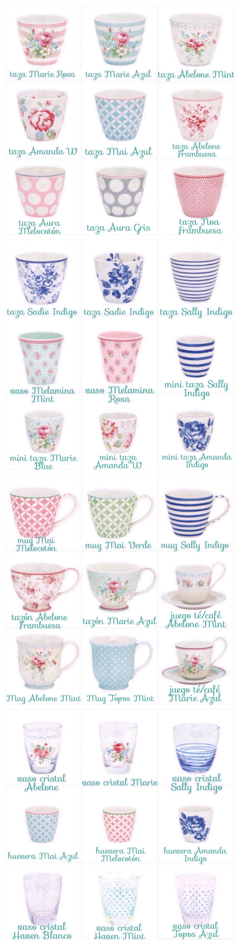 cups and lattes and mugs and glasses and tea cups and egg cups and mini cup and cups&sauces... by GreenGate