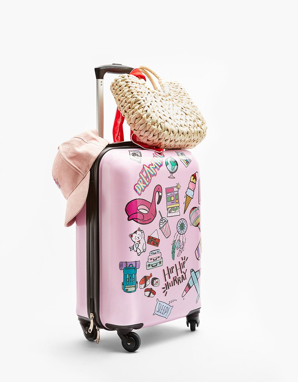 b356687fd27 Bershka United States - Customizable suitcase with stickers   Bright ...