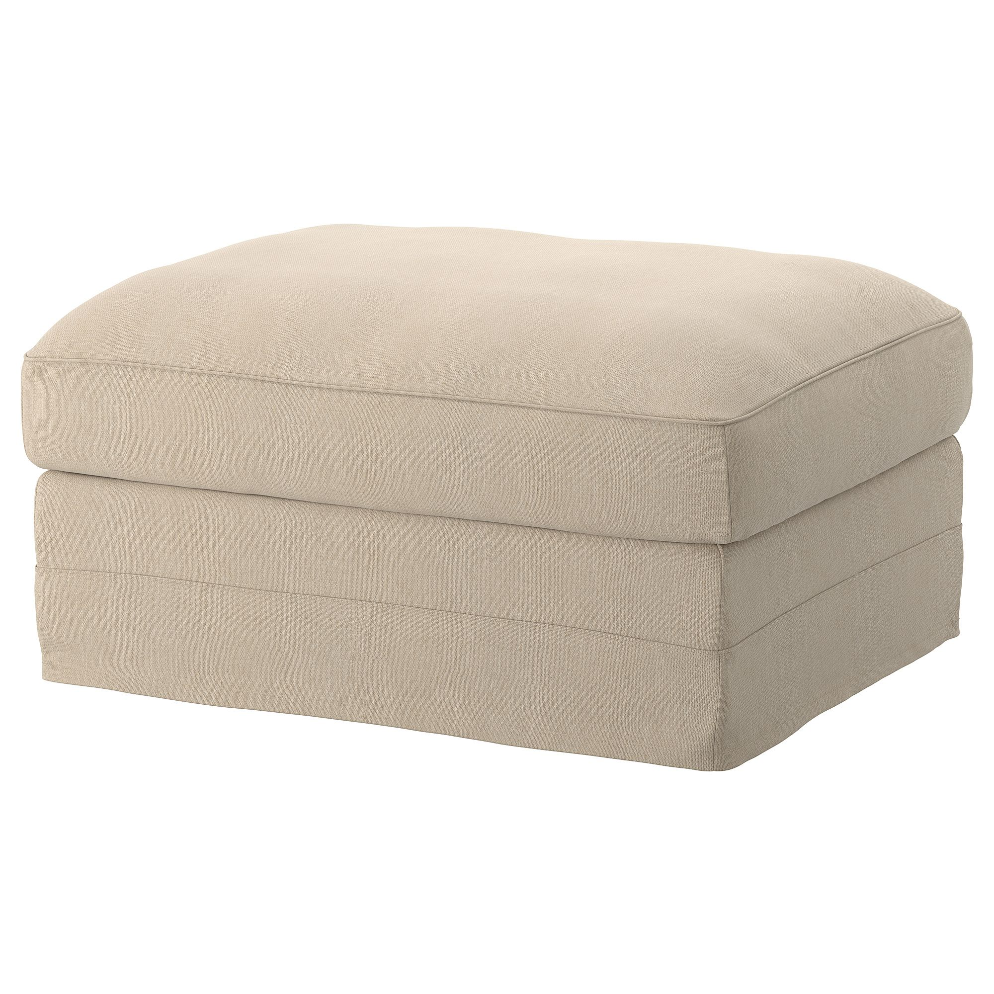 Ikea Gronlid Sporda Natural Ottoman With Storage Products In 2019 Storage Footstool Fabric Ottoman Ikea