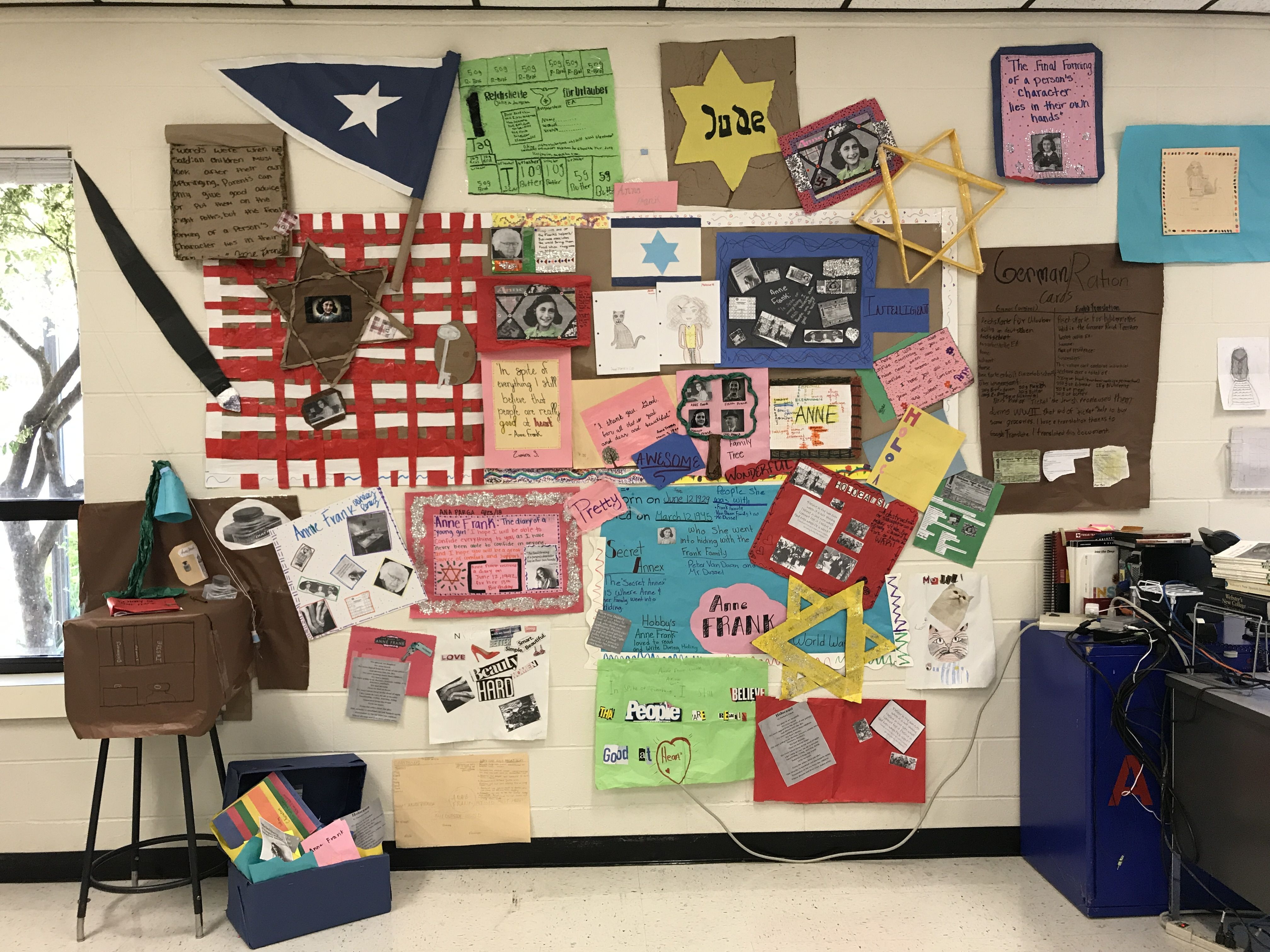 Final Anne Frank Projects On Display In Our Classroom