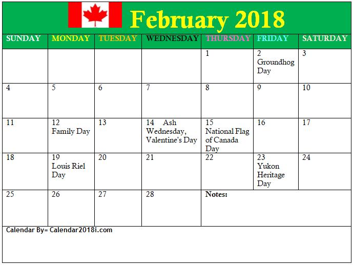 february 2018 canadian calendar