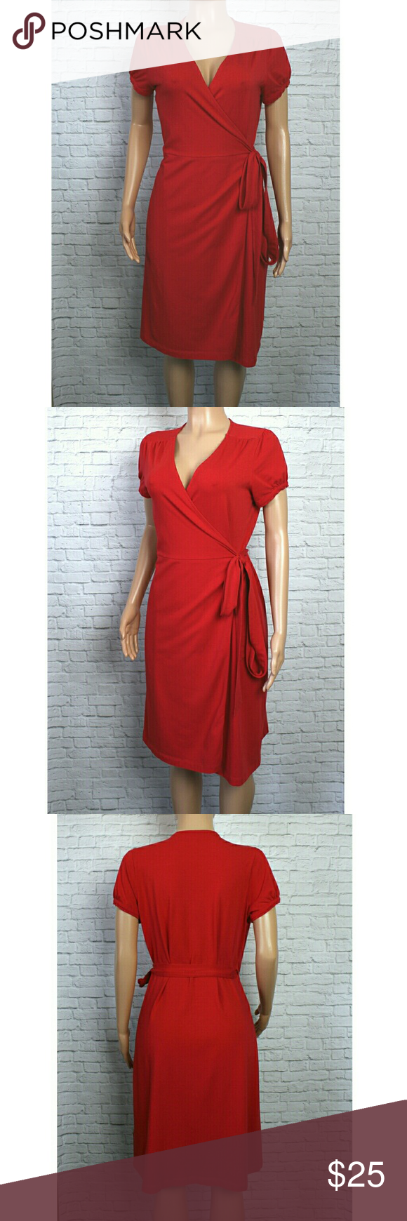Landsu end red short sleeve modal wrap dress incredibly flattering