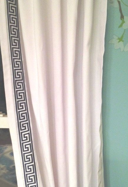 Navy Blue And White Trim Greek Key Curtain Color Options