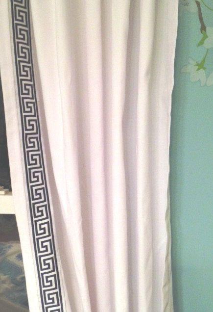 Navy Blue And White Trim Greek Key Curtain Window