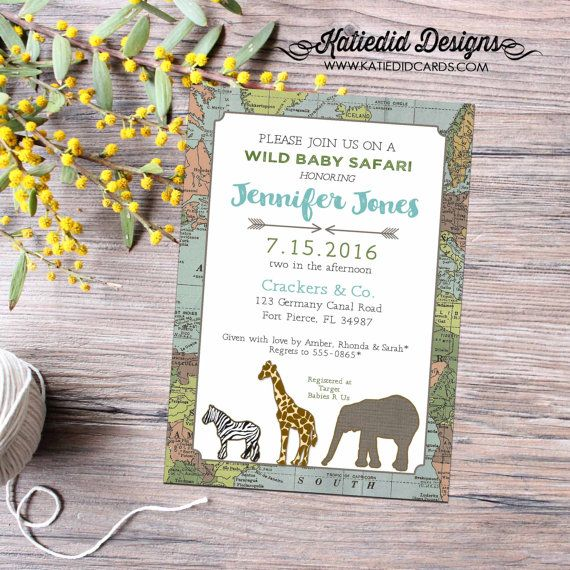 Travel Theme Baby Shower Invitation, Rustic Twin Baby Boys Birthday, Adventure Awaits Safari | 12115 Katiedid cards #elephantitems