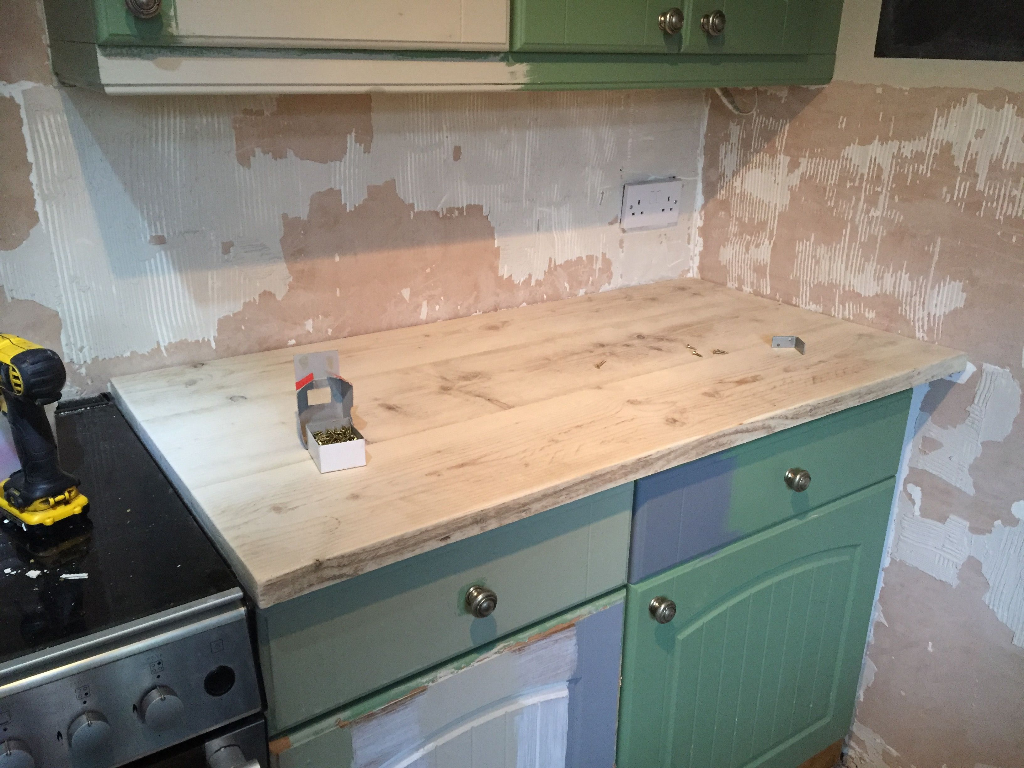 Scaffold Board Worktops Pre Staining And Waxing