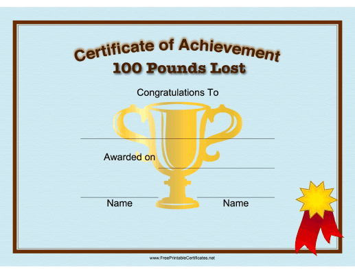 This Printable Certificate Congratulates Someone On The Loss Of