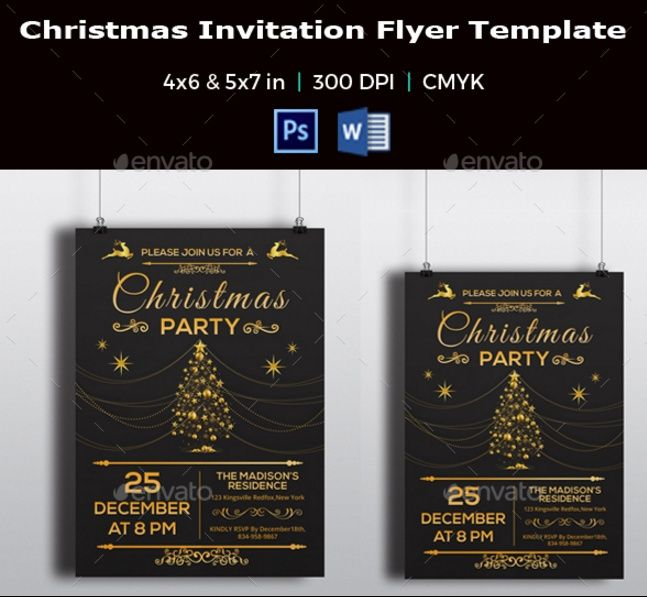 20+ Invitation Flyer Template PSD, Word For Christmas And New Year